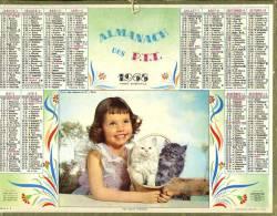 """Calendrier 1968 Superbe Vue D'une Fillette Et Deux Chatons """" Mes Deux Trésors"""" - Big : 1961-70"""