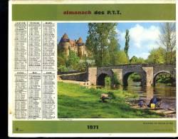 Calendrier 1971 Double Cartonnage,Cher, Château De Culan,Savoie : Lac Et Station De Tignes. - Calendars