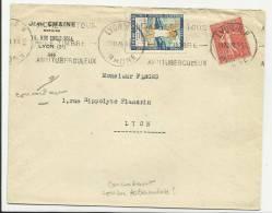 1929 - ENVELOPPE De LYON Avec VIGNETTE + MECA ANTI TUBERCULOSE - SEMEUSE - ERINNOPHILIE - Storia Postale