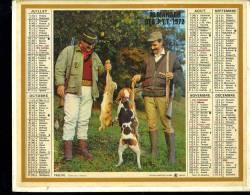 """Calendrier 1972 Double Cartonnage,Chasse, Chasseurs, Lièvre Et Chien """"preuve"""" Pêche Pêcheur """"joli Coup"""" - Grand Format : 1971-80"""