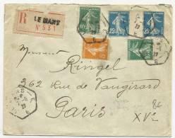 1923 - ENVELOPPE RECOMMANDEE De LE MANS - SEMEUSE INTERPANNEAU - RECETTE AUXILIAIRE - Storia Postale