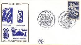 - Enveloppe Timbre 4F Libération - 40 ° Anniversaire De La Libération - 8 Septembre 1984 - AUDRUICQ 62 - - Guerre Mondiale (Seconde)