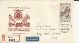 CHECOSLOVAQUIA CC CERTIFICADA A USA CARRERA MOTOCICLISTA 1955 AL DOROS MAT LLEGADA LONG BEACH - Moto