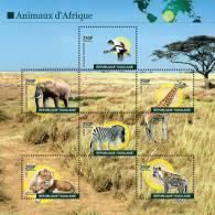 tog1008sh Togo 2010  Crane Elephant Giraffe Zebra Lion s/s