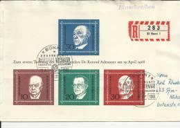 ALEMANIA BONN CC CERTIFICADA HOJA BLOQUE ADENAUER CHURCHILL GASPERI SCHUMAN POLITICVA - Sir Winston Churchill