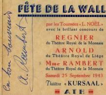 Autographe de Mme Rambert sur programme du th��tre Kursaal � Ath ( Voir description )