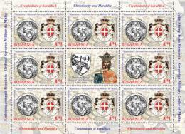 2012 - ROMANIA - CRISTIANESIMO E ARALDICA - MINIFOGLIO - EMISS. CONGIUNTA CON S.M.O.M. - JOINT ISSUE WITH S.M.O.M.  MNH - Emissioni Congiunte