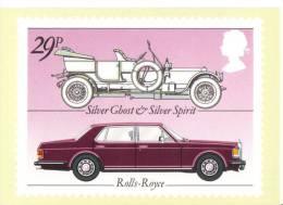British Motor Cars  -  Rolls-Royce Silver Ghost  -  Rolls-Royce Silver Spirit    -   Stamp Card - Turismo