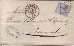 L N° 18 LP 363 TOURNAY 24/6/69 Vers TERMONDE **** - 1865-1866 Profil Gauche