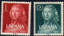 España 1961 Edifil 1328/9 Sellos ** II Cent. Nacimiento Leandro Fernández Moratín (Retrato De Goya) Yvert1005/6 Completa - 1931-Aujourd'hui: II. République - ....Juan Carlos I