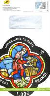 Enveloppe Entier Postale De Service De FRANCE - 2013 Vitrail De Notre Dame De Paris - Chiese E Cattedrali