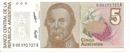 ARGENTINE 5 AUSTRALES  ND 1986/89 UNC  P 324 - Argentine