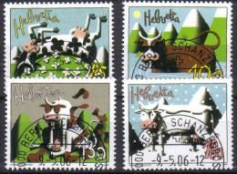 Zu 1198-1201 / Mi 1973-1976 / YT 1896-1899 ART Animaux Vache Obl. 1er Jour - Switzerland