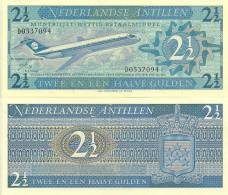 Netherlands Antilles P-21a, 2 1/2 Gulden, Douglas DC-9 Jetl $17+CV! - Banconote