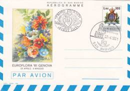 SAN MARINO : Euroflora 81 Genova - Aérogramme Obl.23.4.1981 - Saint-Marin