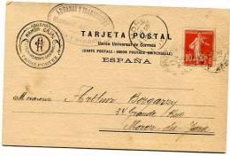 Ambulant IRUN A BORDEAUX ( Peut-être 2°G) Sur CP Déclarant En Douane De 1913 - Marcophilie (Lettres)