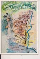 ###Carte Géographique Du Beaujolais, Bonne Route En Beaujolais, 1989, Voyagée - Cartes Géographiques