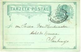 Entier Avec Cachet Corrreo Urbano Conduccion Gratuita Du 6 Sep 1891 Sur Convocation De La Société Belge De Bienfaisance - Chili