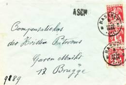 494/20 - Lettre TP Cérès 25 C X 3 HASSELT 1934 Vers BRUGGE - Griffe De Gare ASCH - Poststempel