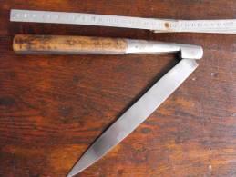 """Couteau Régional Ancien Tres Long (50cm) Pliant Fab FR""""le Sabot"""",poignée Bois,surin, Vendeta Corse Espagne Catalan XIX° - Messen"""