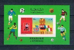 Sharjah Fußball Block 66B Imperf Aber Mit 5 DH RRR Rare - Schardscha