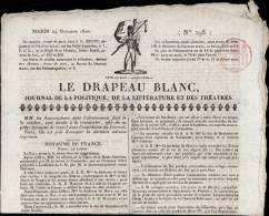 """JOURNAL """" LE DRAPEAU BLANC """" DATE DU 24 OCTOBRE 182O _ DOUBLE FEUILLET IMPRIME - Livres, BD, Revues"""