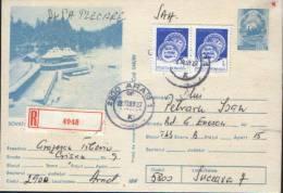 Romania-Postal Stationery Postcard 1989- Sovata Spa Winter - Hotels, Restaurants & Cafés