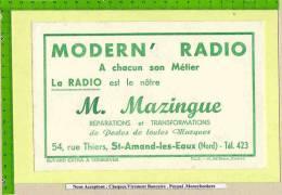 BUVARD : MODERN´ Radio  MAZINGUE  Saint Amand Les Eaux - Electricité & Gaz