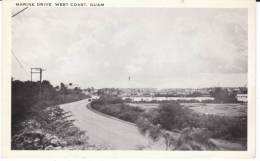Guam, Marine Drive On West Coast Of Island, C1940s/50s Vintage Postcard - Guam