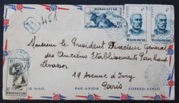 Lettre Recommandée Formulaire Provisoire Par Avion Antalaha 1950 --> Paris, Affr. 62,50f YT 302, 304, 308, 314 - Madagascar (1889-1960)