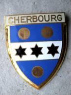 ANCIENNE PLAQUE DE SCOOTER EMAILLEE ANNEE 1950 CHERBOURG 50 EXCELLENT ETAT AUCUNS ECLATS DRAGO PARIS
