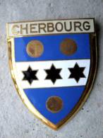 ANCIENNE PLAQUE DE SCOOTER EMAILLEE ANNEE 1950 CHERBOURG 50 EXCELLENT ETAT AUCUNS ECLATS DRAGO PARIS - Advertising (Porcelain) Signs