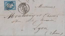 Frankreich Brief Minr.13 Angers 26.4.60 - 1853-1860 Napoléon III.