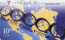 Deutschland - T-Card - 10 DM  1999-12-01 - 5 Uhren Vor Weltkarte - Ger:TC X 01c/99 - Used - Deutschland