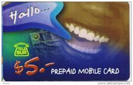 Surinam, $5, GSM, Prepaid Card, Smile, 2 Scans.