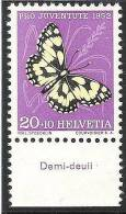 "Svizzera Pro Juventute 1952: Yvert-No.528 * MLH Con Tab ""Galatea"" (CHF 5.20 Per **) - Vlinders"