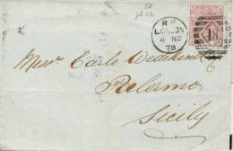 Great Britain 1878 Jacket Of Letter From London To Palermo (Italy) With 2 1/2 Pence Plate 12 - 1840-1901 (Regina Victoria)