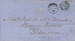 Great Britain 1880 Jacket Of Letter From London To Genoa (Italy) With 2 1/2 Pence Blue Plate 17 - 1840-1901 (Regina Victoria)