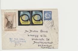 Griechenland Greece MiNr 631 Korfu -> Leipzig Mit Vignetten 20. Messe Thessaloniki 1955 + 2 Drachmen Für Zypern - Lettres & Documents