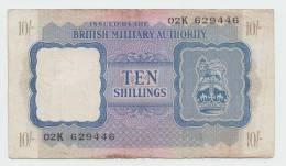 BRITISH MILITARY AUTHORITY - North Africa 10 Shillings (1943) F+ P M5 - Autorità Militare Britannica