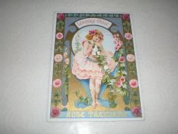 Chromo Art Déco Publicité Biscuits Lefèvre Utile, Rose Trémière, Gaufrette Vanille LU - Lu