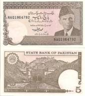 Pakistan P-28, 5 Rupee, Mohammed Aki Jinnah / Khajak Railroad Tunnell $4CV - Pakistan