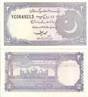 Pakistan P-37, 2 Rupee, Badshahi Mosque, Labore/  Crescent Moon $4CV!! - Pakistan
