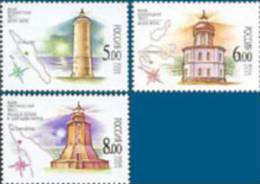 Russia 2005 Architecture Lighthouses Of Barents & White Sea Lighthouse Geography Map Michel 1273-1275 - 1992-.... Federation