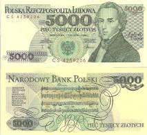 "Poland P-150a, 5,000 Zlotych, Frédéric Chopin/ Music Score ""Polonaise"" $4CV - Poland"