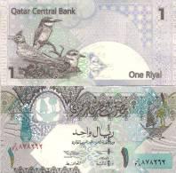 Qatar P-20, 1 Riyal, 2003, Dhow / Lark, Bee Eater, Plover  - Stunning! - Qatar