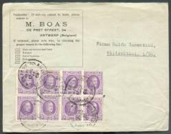 25 Centimes Houyoux (bloc De 8) Obl. Sc ANTWERPEN ANVERS 6 S/L. Du 10-IX-1928 Vers L'Allemagne - 8496 - 1922-1927 Houyoux