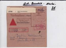 RFA - 1984 - CARTE BULLETIN D´EXPEDITION PAKETKARTE CONTRE REMBOURSEMENT De QUEDLINBURG - BRD