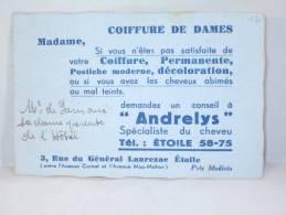 """Carte De Visite. Coiffure De Dames,"""" Andrelys"""" Spécialiste Du Cheveu, Rue Du Général Lanrezac, Etoile. Paris - Cartes De Visite"""