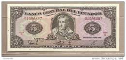 Ecuador - Banconota Non Circolata FdS Da 5 Sucres P-113d.5 - 1988 - Ecuador
